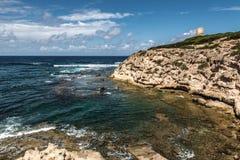 Penhascos de Mannu do Capo, Sardinia Fotos de Stock Royalty Free