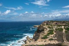 Penhascos de Mannu do Capo, Sardinia Imagem de Stock