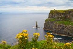 Penhascos de Moher, costa oeste da Irlanda, condado Clare em Oceano Atlântico selvagem A foto de um mar cênico bonito e o céu aja Imagem de Stock Royalty Free