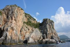 Penhascos de Palaiokastritsa, Corfu fotografia de stock