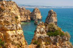 Penhascos de Portugal, oceano Foto de Stock Royalty Free