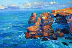 Penhascos e oceano Fotografia de Stock