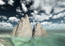 Penhascos e rochas tropicais do mar ilustração do vetor