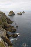 Penhascos na costa de brittany, France imagens de stock