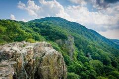 Penhascos rochosos pequenos do homem, ao longo da fuga apalaches, em Shenand Fotos de Stock
