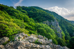 Penhascos rochosos pequenos do homem ao longo da fuga apalaches, em Shenando Foto de Stock