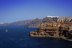 Penhascos vulcânicos - Santorini Fotografia de Stock Royalty Free