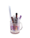 Penholder with pens and ruler Royalty Free Stock Image