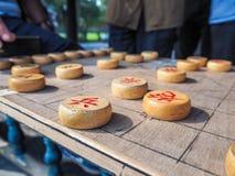 Penhor chinês circular liso de madeira da xadrez Imagem de Stock Royalty Free