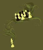 Penhores da xadrez e o rei Foto de Stock Royalty Free