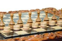 Penhores e verificadores da xadrez Foto de Stock