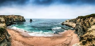 Peniche Beach. Panorama on a cloudy day stock photo