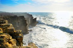 Peniche Coastline. Landscape view of the rocky coastline and crashing waves of Peniche, Portugal stock photography