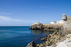 Peniche fort ocean walls. Walls of Peniche fort facing the blue ocean. Portugal stock photo