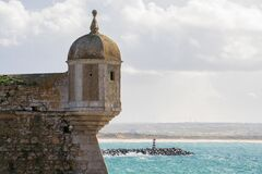 Free Peniche Fortress Tower With Sea On The Background Stock Photography - 208616672