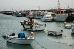 Peniche, Portugal:artesanal fishing boats berthed in the Peniche port Royalty Free Stock Image