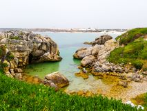 Peniche. View at cliffs and rocks at Peniche island stock photo