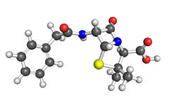 Penicillin G molecule. Ball and stick model of penicillin G, also known as benzylpenicillin. Atoms are coloured according to convention (nitrogen-blue; carbon Royalty Free Stock Image