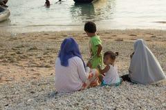 PENIDA ISLAND, INDONESIA - JULY 22.2015:children playing on the beach. Nusa Penida July 22. 2015 Indonesia Stock Photography