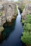 Peningagjà ¡ på Þingvellir i Island är en härlig destination i en nationalpark i Island royaltyfri fotografi