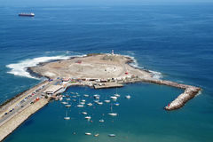 Peninsula in Arica city, Chile. Peninsula with yachts in Arica city, Chile stock photography