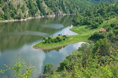 Peninsula in the Canyon of the River Uvac in Serbia Royalty Free Stock Photography