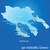 Peninsula of Halkidiki in Greece map Stock Photos
