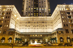 The Peninsula Hong Kong. Is combines colonial and modern elements, and is notable for its large fleet of Rolls-Royces painted the distinctive Peninsula green