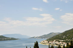 A peninsula with houses and boats in the coast of Croatia Stock Image