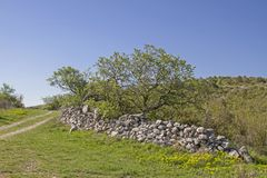 On the peninsula Koromacno in Istria. The peninsula Koromacno in Istria is a popular destination for nature lovers, hikers mountain bikers and off-roaders royalty free stock image