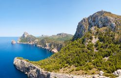 Cap de Formentor in Majorca, Spain. Peninsula panorama of sea and mountains. Cap de Formentor is a spectacular place, located on the northernmost point of the royalty free stock photography