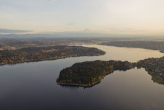 Peninsula Park in Lake. Aerial view of Seward park in Lake Washington at sunset Royalty Free Stock Photo