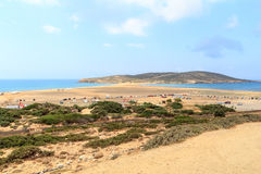 Peninsula Prasonisi and sandbank with lots of cars in Rhodes Stock Photos