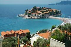 Peninsule de Sveti Stefan, costa costa de Montenegro Fotografía de archivo libre de regalías