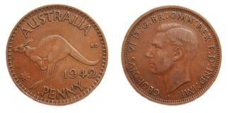 Penique australiano 1942 pre-decimal foto de archivo