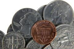Penique en monedas de los E.E.U.U. imagenes de archivo