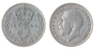 3 peniques 1920 acuñan aislado en el fondo blanco, Gran Bretaña Fotografía de archivo libre de regalías