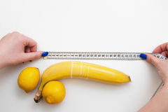 Penis size, measure tape, sex and satisfaction Royalty Free Stock Images