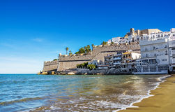 Peniscola beach ,Province Castello, Spain Royalty Free Stock Photography