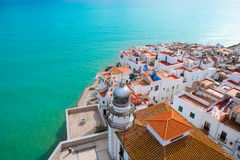 Peniscola beach and Village aerial view in Castellon Spain Stock Photography
