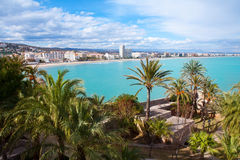 Peniscola beach and Village aerial view in Castellon Spain Royalty Free Stock Images