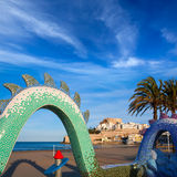 Peniscola Castle and beach in Castellon Spain Stock Photography