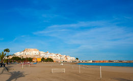 Peniscola Castle and beach in Castellon Spain Royalty Free Stock Photo