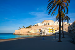 Peniscola Castle and beach in Castellon Spain Stock Images