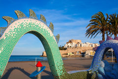 Peniscola Castle and beach in Castellon Spain Royalty Free Stock Photos