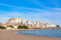 Peniscola Castle and beach in Castellon Spain Royalty Free Stock Image