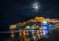 Peniscola castle at night Royalty Free Stock Photos