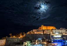 Peniscola castle at night. Spain Stock Image