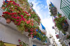 Peniscola old village in Castellon of Spain. Mediterranean downtown stock image