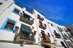 Peniscola old village in Castellon of Spain. Mediterranean downtown royalty free stock photography